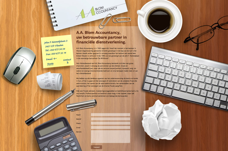 One page design voor Blom Accountancy