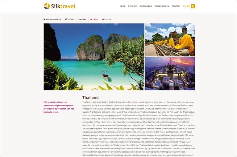 Webdesign voor Silktravel luxe reizen